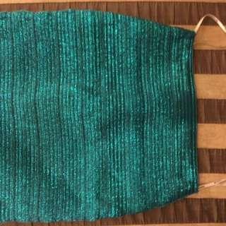 Forever 21 Metallic Green Bondage Skirt