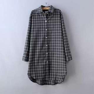全新 深灰色 韓國格仔長就恤衫 顯瘦