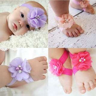 Baby Girls Head And Foot Flower Bands