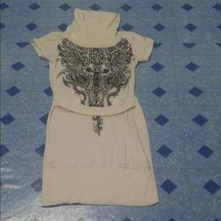 White Turtle Neck Dress