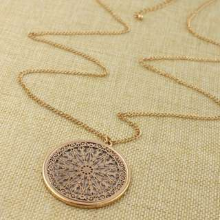 [PreOrder] Exquisite Gold Patterned Long Necklace