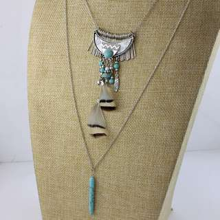 [PreOrder] Turquoise and Silver Triple Layered Tribal Necklace