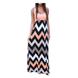 Women casual Multi color Wave Summer Long Maxi Dress