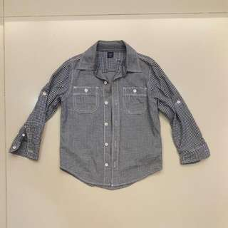 Baby Gap Boys Toddlers Blue Checkered Shirt (For 5 Years Old)