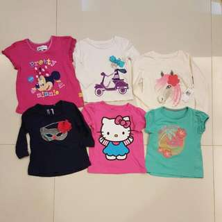 Set Of 6: Hong Kong Disney, Cotton On, Hello Kitty, Baby Gap, Sears: Girls Toddlers Long Sleeves T Shirts (18 Months to 3 Years Old)