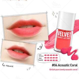 Onsaemeein Velvet Moist Lip Tint #4 Acoustic Coral 5ml (Expiry Date: 20190315) Brush Applicator #1212YES