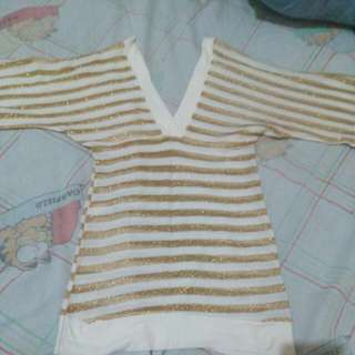Golden Stripes Party Top