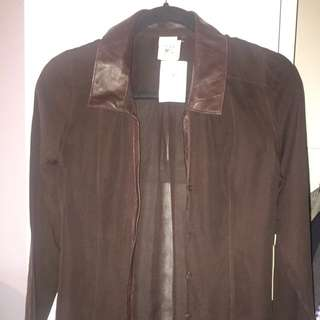 Brand New Leather Details Sheer Blouse