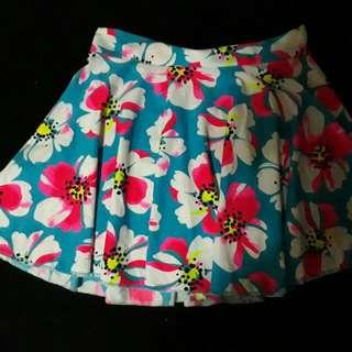 Preloved Floral Skater Skirt
