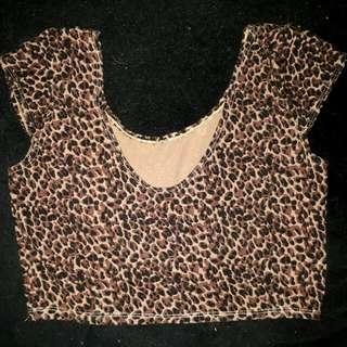 Preloved Leopard Print Cropped Top