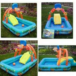 Inflatable Sliding Pool With Basketball