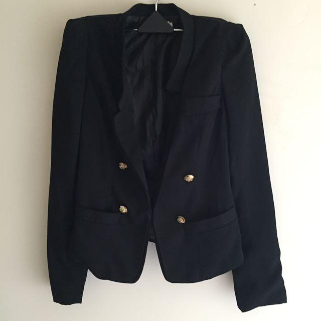 不規則領口金釦西裝外套