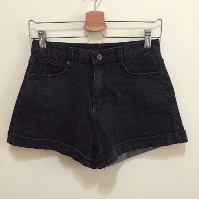 (免運)Mixxmix霧黑反折單寧短褲