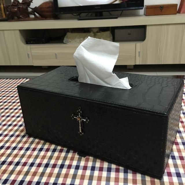 仿鱷魚皮革-造型面紙盒