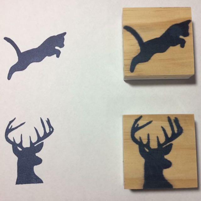 手工雕刻橡皮章 貓咪 鹿頭