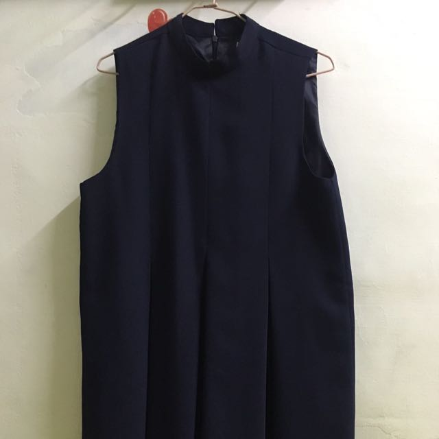 代售 正韓 皺摺背心洋裝 深藍