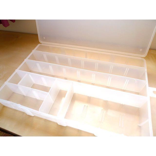 半透明可調式雙層活動層板收納盒 工具盒 飾品盒 零件盒