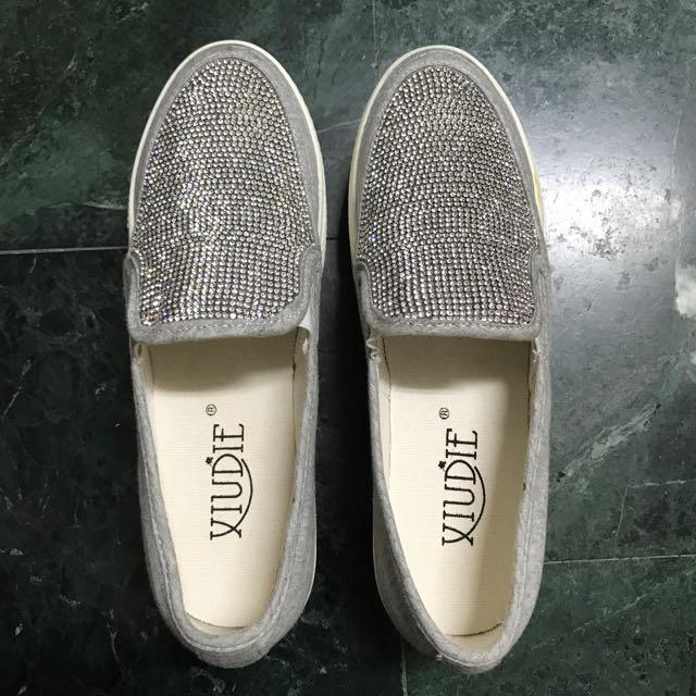 水鑽 灰 白 厚底鞋