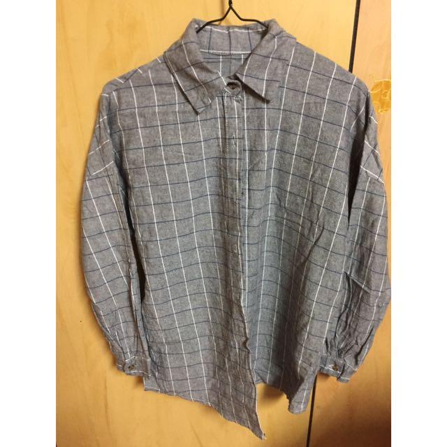 灰色 格子 長版 襯衫