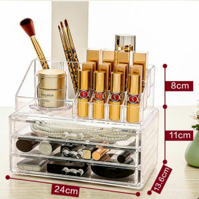 🔺現貨 全新 壓克力 透明 收納盒 收納櫃 保養品 化妝品 多層置物架 桌面