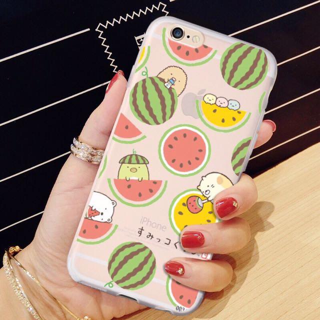現貨❤️角落生物 iPhone 7/7plus/6/6s/6plus/plus 手機殼 西瓜 iphone 軟殼 夏天 清涼