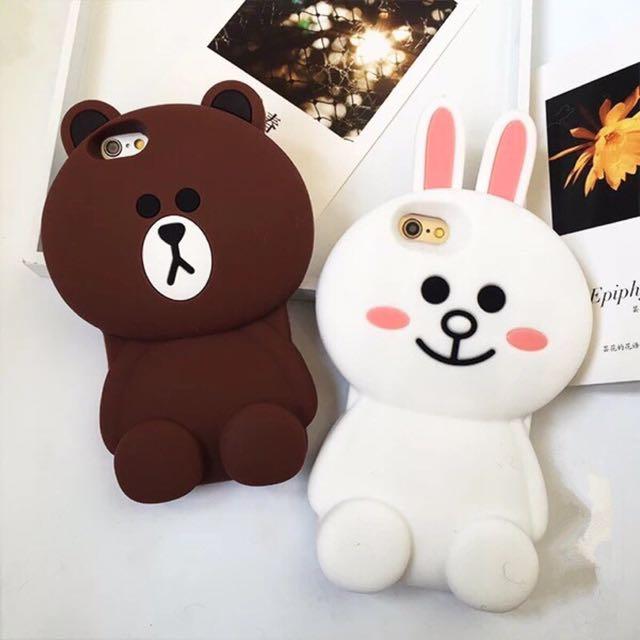 現貨❤️熊大/兔兔 iPhone 7/7plus/6/6s/plus 立體手機殼 情侶 矽膠  立體殼