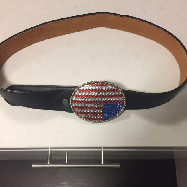 American Flag jewelled vintage leather belt