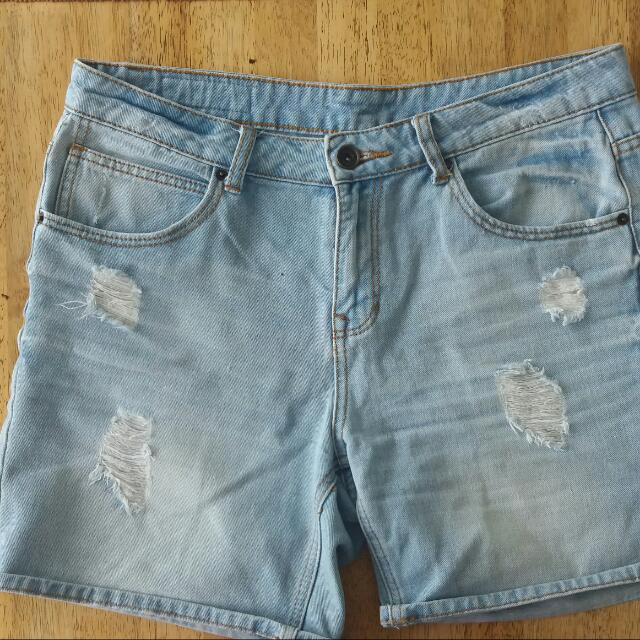 Amisu Denim Ripped Shorts