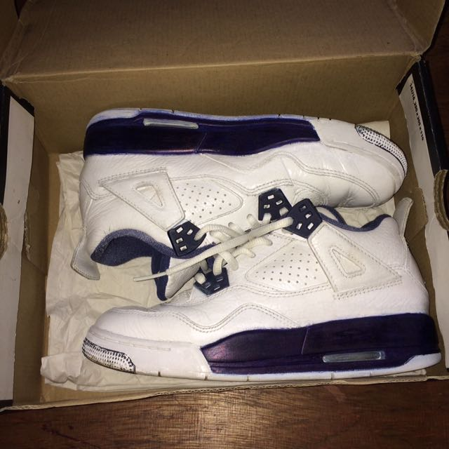 Authentic Air Jordan  4 Retro BG White Legend Blue Midnight Navy