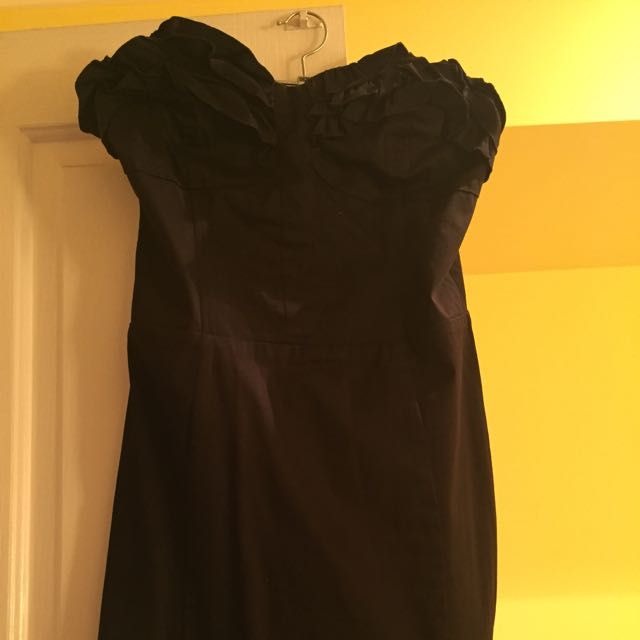 Bardot, Size 12, Black Strapless Dress With Ruffle Detail