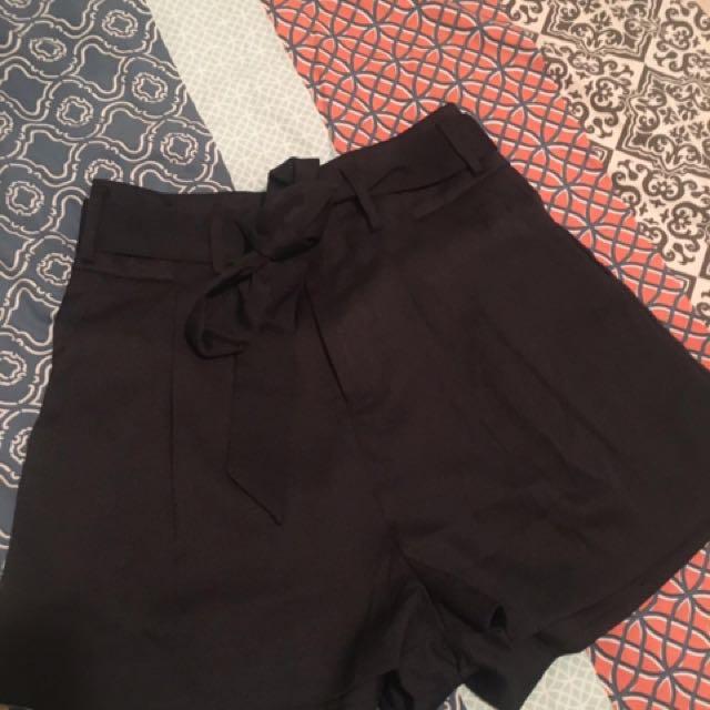 Black Ribbon Tie Shorts