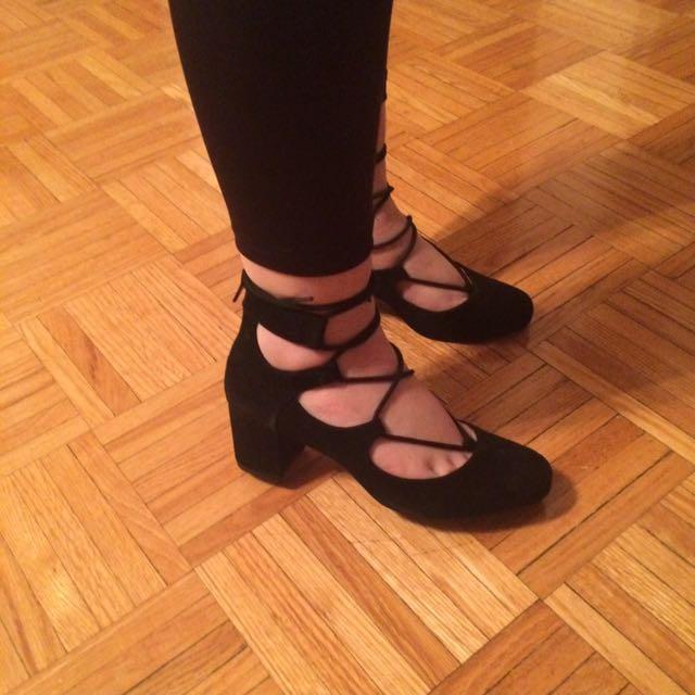 Nine West Black Strap Chunky Platform Heels