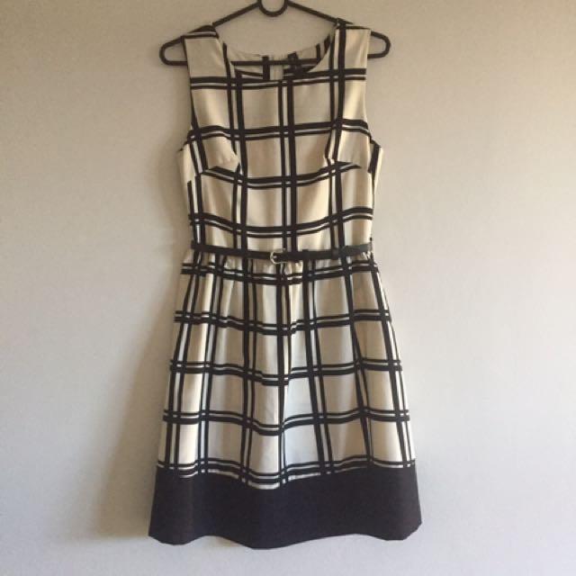 Black/cream check dress