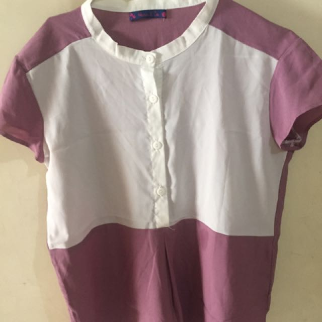 Blouse Purple N White