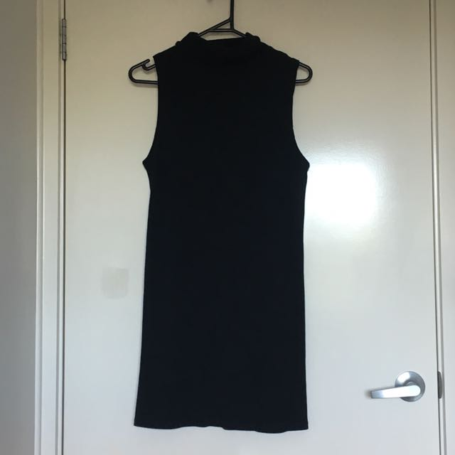 Body Hugging Black Turtle Neck Dress