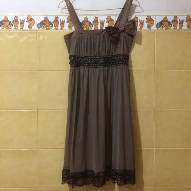 Bow Brown Dress