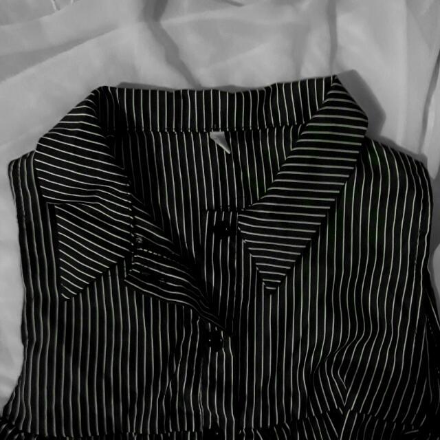 BW Striped Off Shoulder Top