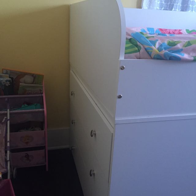 Child's Wooden Lofted Bed. With Side Drawers