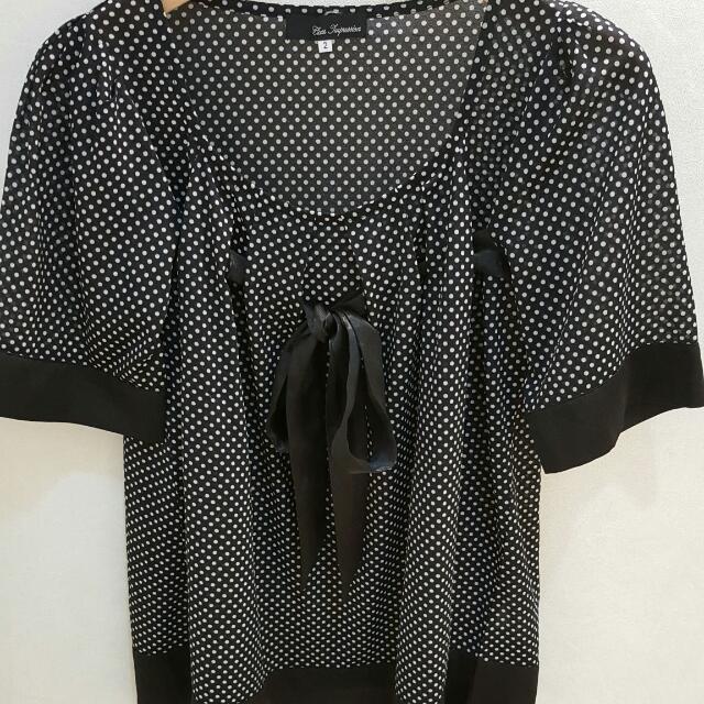 CLEAR lMPRESSlON日本品牌 黑色點點緞面蝴蝶結雪紡上衣