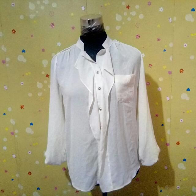 Dirty White Chiffon Long Sleeves