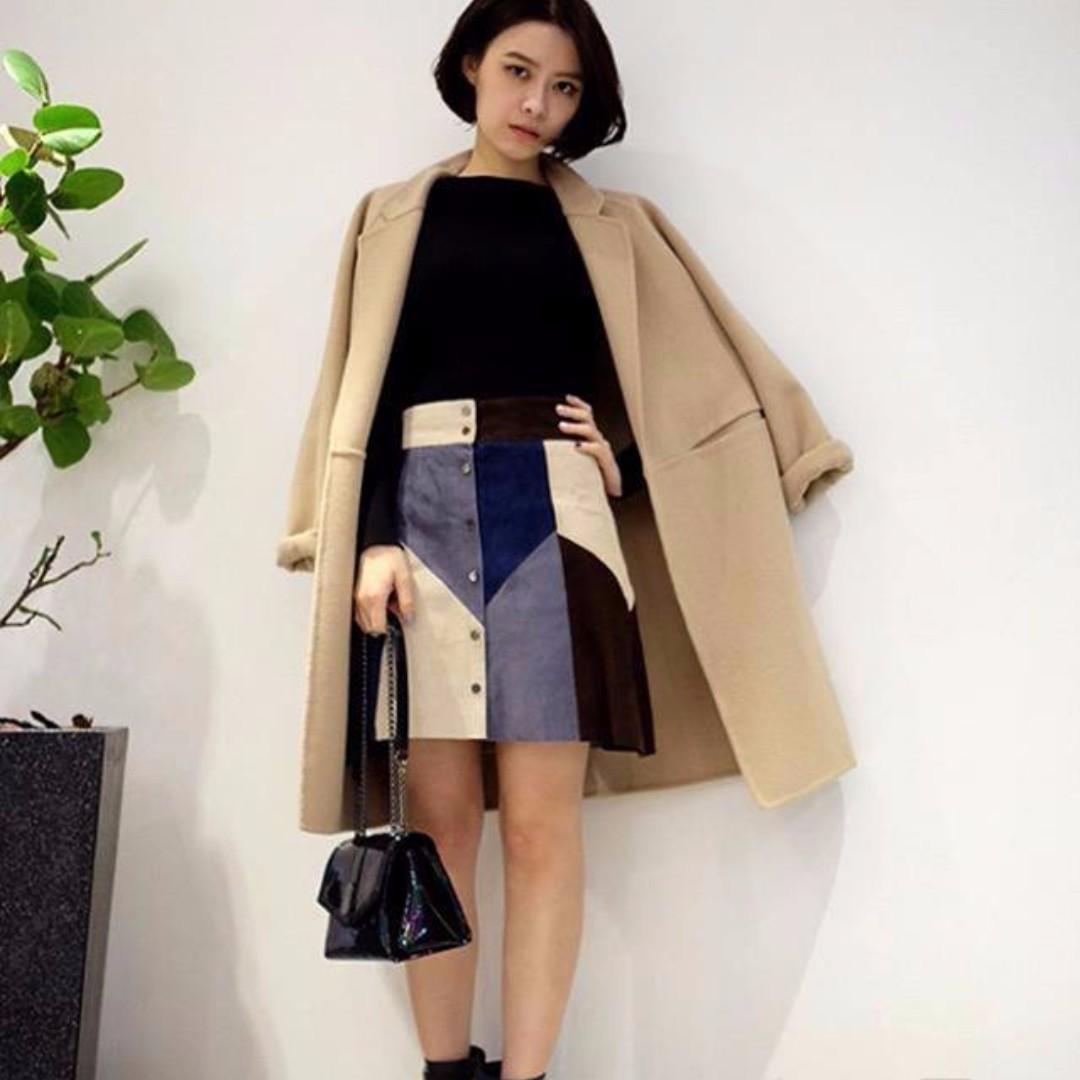Dresscode 拼接麂皮裙
