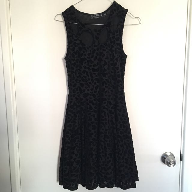 Evil Twin Black Leopard Skater Dress