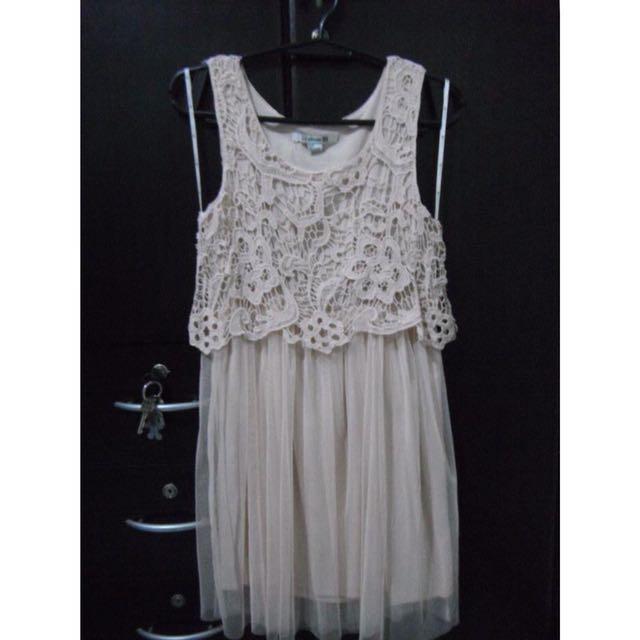 F21 Crochet Tulle Dress