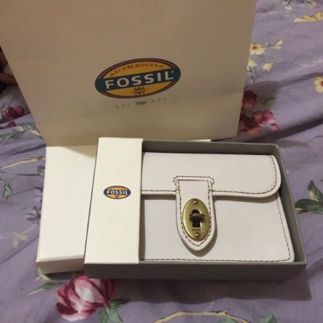 Fossils White Wallet With Card Holder