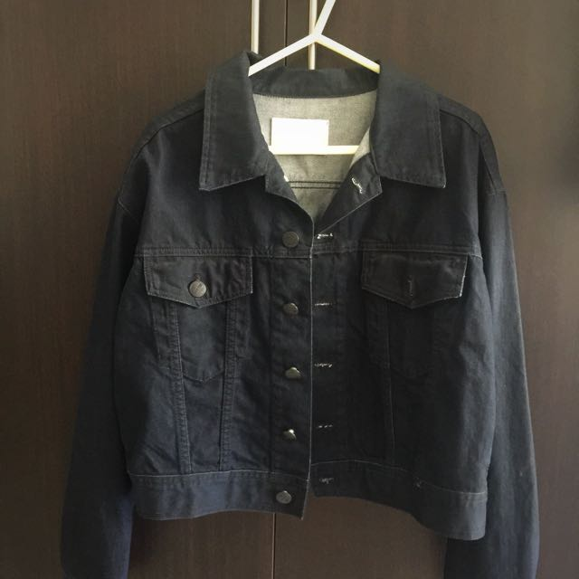 FREE SHIPPING! Cropped Dark Blue Jean Jacket