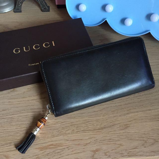 Gucci 1921 限量系列 漸層墨綠皮革拉鍊長夾