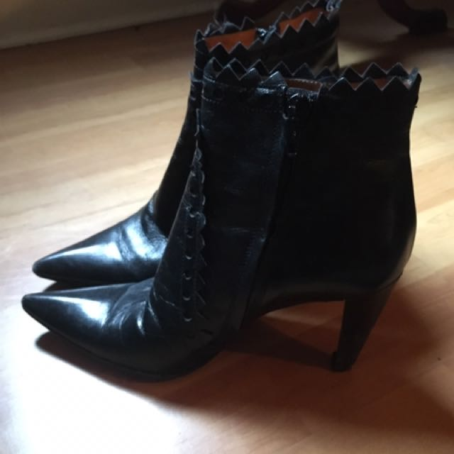 Italian Vero Cuoio Leather Ankle Boots Size 37