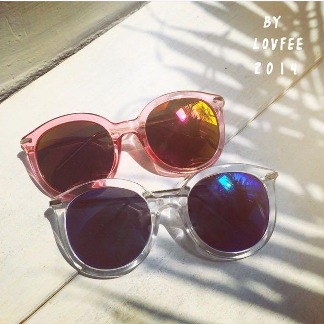 LOVFEE 粉紅色半透名膠框墨鏡