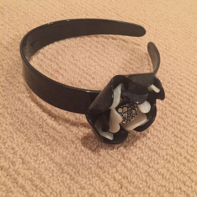 Mimco Floral Black And Cream Headband