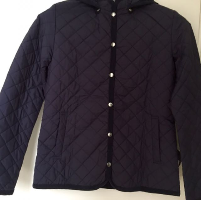 MUJI Navy Blue quilted down jacket With Detachable Hood